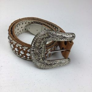 "Accessories - Women western leather belt bling brown 26"""